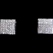 14K White Gold Pave Diamond Earrings