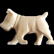 Vintage Miniature Dollhouse Size Carved  Bone Doggie