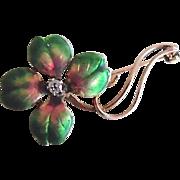 Antique 18K Diamond Enamel 4 Leaf Clover Art Nouveau Pin