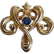 Antique 14K Gold Sapphire Art Nouveau Watch Pin Whiteside & Blank