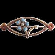 Antique 10K Gold Enamel Seed Pearl Art Nouveau Pin