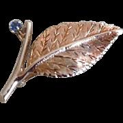 Vintage 18K Yellow Gold Sapphire Leaf Pin