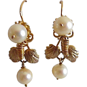 Vintage 14K Yellow Gold Cultured Pearl Dangle Earrings