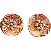18K Art Deco Fancy Disc Seed Pearl Earrings