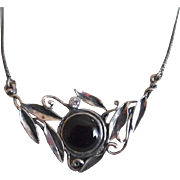 Vintage Sterling Onyx Hallmarked Necklace