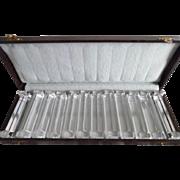 Vintage Set of 12 Crystal Knife Rests In Original Box