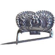 Sterling Silver Victorian Spring Activated Posy Holder Pin
