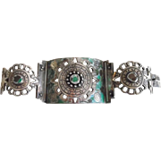 Early Mexican Sterling Silver Turquoise Mosaic Inlay Huge Bracelet