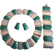 1940's Mexican Chunky Sterling Green Onyx Necklace Bracelet Earrings Suite