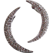 Vintage Kenneth Lane Large Clear Rhinestone Crescent Moon Earrings