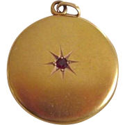 Antique Victorian 14K Brushed Yellow Gold Ruby Locket