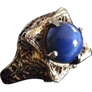 Antique Edwardian Sterling Silver Faux Star Sapphire Ring