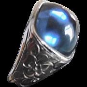 Antique Edwardian Sterling Silver & Faux Sapphire Men's Ring