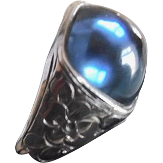 Antique Edwardian Sterling Silver & Faux Sapphire Men's Ring