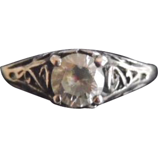 Antique Edwardian Sterling Silver & Paste Ring