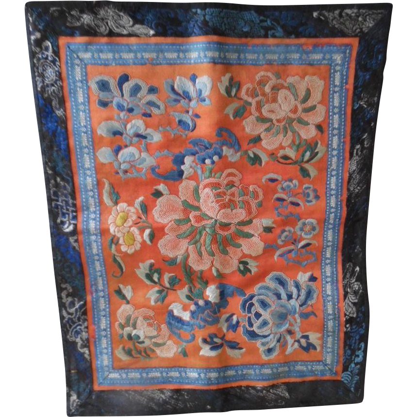 Antique Early 1900's Chinese Silk Embroidered Forbidden Stitch Panel