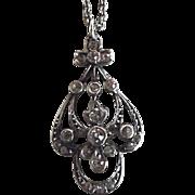 Antique Edwardian Sterling Silver German Paste Pendant