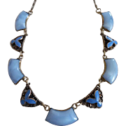 1920's Art Deco Blue Enamel & Glass Necklace