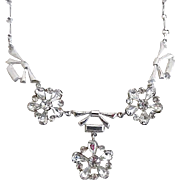 Vintage Art Deco Sterling Silver Clear Rhinestone Necklace Signed AMCO