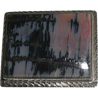 Vintage Sterling Moss/Picture Agate Pin