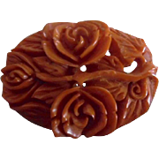 Vintage Carved Deep Butterscotch Bakelite Multi Roses Pin