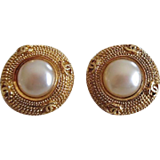 Vintage Chanel Logo Designer Faux Pearl  Clip On Earrings