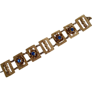 Antique Victorian Gilt Brass Blue Paste Fancy Link Bracelet