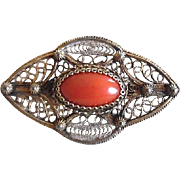 Vintage Red Coral 800 Silver Filigree Gilt Pin