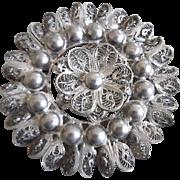 Vintage Large 800 Silver Filigree Brooch/Pin