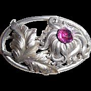 Antique Sterling Silver Art Nouveau Large Pin