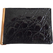 Vintage Dunhill 1960's Man's Black Alligator Billfold Wallet