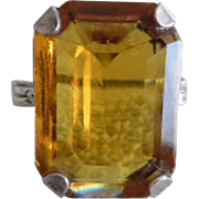 Vintage Art Deco 1930's Sterling Citrine Paste Dinner Ring