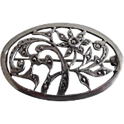Vintage Sterling Silver Marcasite Oval Floral Pin