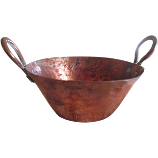 Early Vintage Child's Little Hand Hammered Solid Copper Kettle