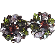 Vintage 1950-60's Vogue Multi Color Rhinestone Clip On Earrings