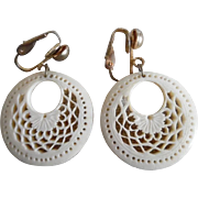 Vintage Fancy Carved Bone Dangle Hoop Clip On Earrings
