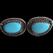 Vintage 1940-50's Sterling Silver Turquoise Screw Back Earrings