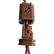 Antique Chinese Tiny Carved Wooden Bead Temple Opens To 4 Gods Tassel