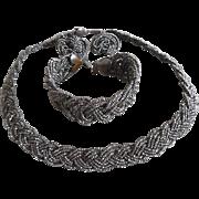 Vintage Art Deco Woven Steel Cut Bead Necklace Bracelet Earrings Set