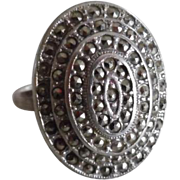 Vintage Art Deco Sterling silver Marcasite Huge Ring