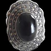 Vintage Art Deco Sterling Silver Marcasite Black Onyx Huge Ring