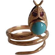 Early Victorian 18K Gold Persian Turquoise Ruby Coiled Snake Ring