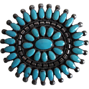 Huge Native American Sterling Silver & Turquoise Pin/Pendant
