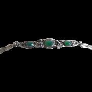 Vintage 1920-30's German 900 Silver Faceted Chrysoprase Bracelet
