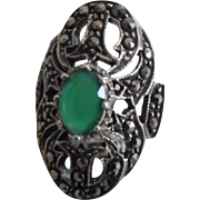 Beautiful Art Deco Sterling Silver Faceted Chrysoprase Marcasite Ring