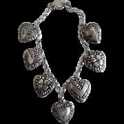 Vintage Sterling Silver Puffy Heart Charm Bracelet