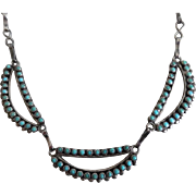 Old Pawn Sterling Silver Turquoise Needlepoint Necklace