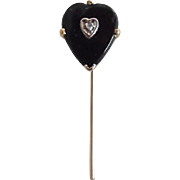 Antique Victorian 18K Gold Black Onyx Diamond Heart Shape Stick Pin