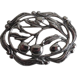 Vintage Danecraft Sterling Silver Cherries Pin