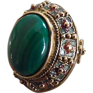 Chinese Sterling Vermeil Enamel Malachite Ring